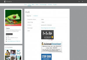 Screenshot of profile information using the frio theme.