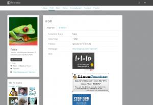 Screenshot of profile information using the frio theme.