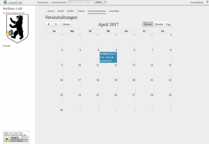 Screenshot of the Vier theme, showing public events